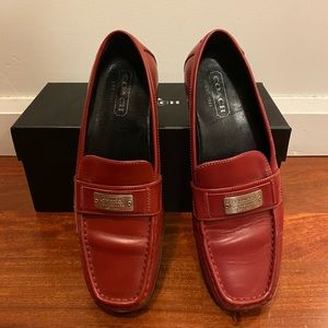 Red leather Coach loafers 36.5